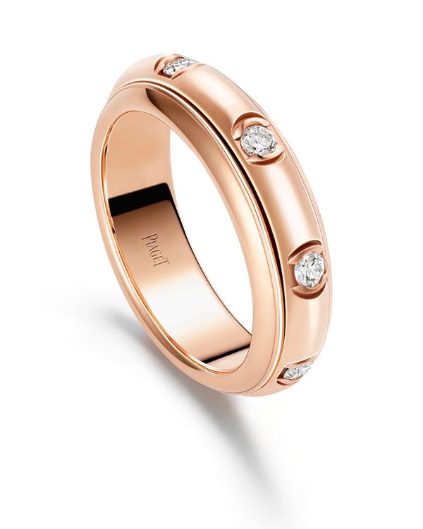 Piaget Possession 时来运转戒指-18K 玫瑰金(G34P7C00),镶饰8 颗明亮式切割美钻(约重0.30 克拉)。